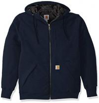 Carhartt Men's Rain Defender Rockland Quilt Lined Hooded Sweatshirt at Men's Clothing store