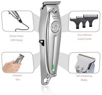 Kemei Professional Beard/Hair Trimmer with 0mm Bald Blade Hair Clippers for Men Stylists and Barbers Cordless Rechargeable Quiet: Kitchen & Dining