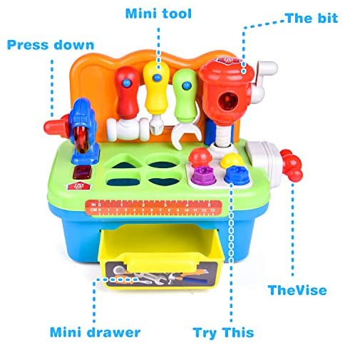 FUN LITTLE TOYS Workbench and Construction Toy Tool Kit with Sound and Music, Baby Tool Set with Shape Sorter: Toys & Games