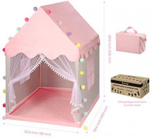 """ACSTEP Kids Tent with Mat & Light String, Princess Tent for Girls, Kids Tents Indoor Playhouses, Princess Castle Tent, Fairy Tent Large Playhouse Christmas Birthday Gift 39.4"""" L32.7 W49.6 H, Pink: Toys & Games"""