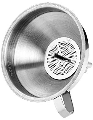 Stainless Steel Wide Mouth Funnels with Detachable Strainer, 5-inch Funnel for Filling Small Bottles and Jars, Cooking Oil and Transmission Liquid and Powder, Food Grade Metal Kitchen Funnels Silver: Kitchen & Dining