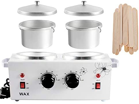 Double Wax Warmer Professional Electric Heater Hair Removal Dual Parrafin Hot Facial Skin Equipment SPA Adjustable Temperature with 100 Wooden Sticks: Health & Personal Care