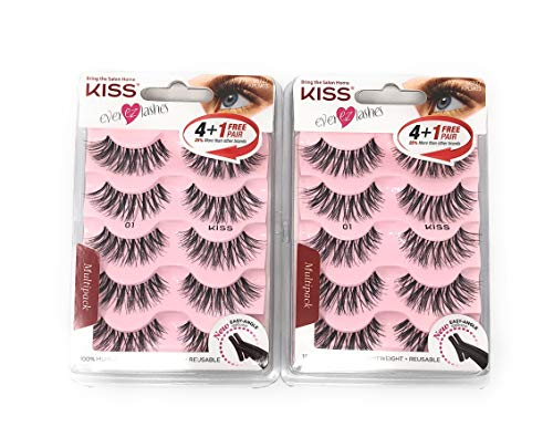 Kiss Ever Ez 01 Lashes 4 + 1 Pairs (2 Pack) : Beauty