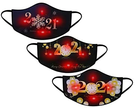 LED Light Glowing Face_Mask for Christmas, Christmas Glowing Face_Mask Christmas Luminous Light Up Comfortable Face_Cover Face Protector Bandanas Balaclava Face Decoration for Christmas Family Party : Sports & Outdoors