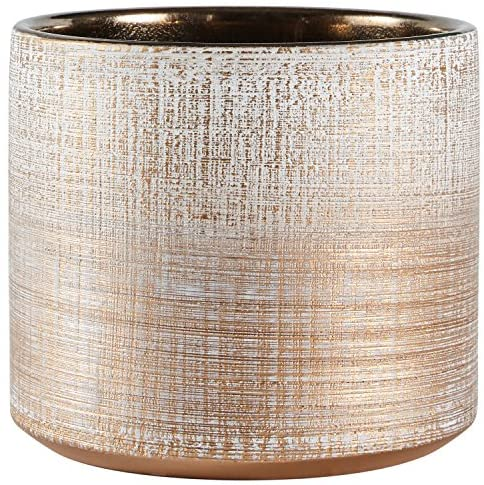 "Brand – Rivet Rustic Stoneware Crosshatch Indoor Outdoor Flower Plant Pot, 5""H, Bronze, Small Planter: Home & Kitchen"
