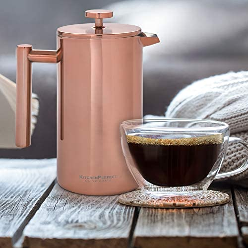 Unique Copper French Press Coffee Brewer, Measuring Spoon and Clip - Portable Coffee Maker For Travel - Double-wall Thermal Coffee Carafe, Stainless Steel Pot, Copper Rose Gold, 34oz: Kitchen & Dining