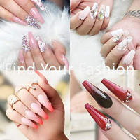 1200 Pieces of Fake NailTips 2 Styles 10 Sizes of Artificial False Nails for Nail Salons and Home DIY Nail Art (Transparent): Beauty