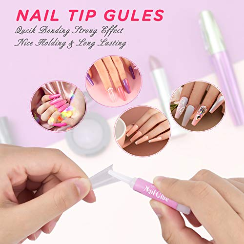 Clear Acrylic Nail Tips,MORGLES 500 Pcs Coffin Nails Clear Fake Nails Half Cover French False Nail Tips with Glues 1Pc Nail Clipper Cuticle Pusher and Fork,3Pcs Nail Files with Case: Beauty