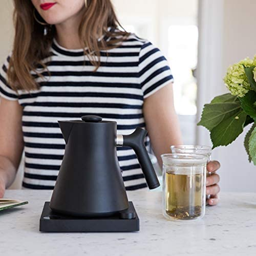 Fellow Corvo EKG Electric Kettle For Tea And Coffee, Matte Black, Variable Temperature Control, 1200 Watt Quick Heating, Built-In Brew Stopwatch: Kitchen & Dining