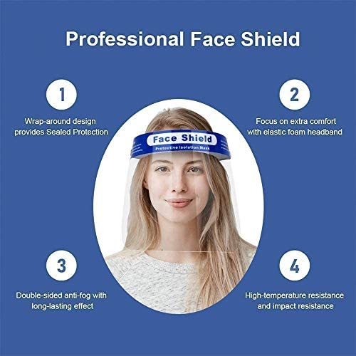 [3-7 Days Delivery] 100 Value Pack Face Shields with Full Face Protective, Clear Protective Face Shields with Elastic Band and Comfort Sponge, Anti-fog Adjustable Dental Face Shield for Men/Women