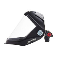 Jackson Safety Lightweight MAXVIEW Premium Face Shield with Universal Adapter, Clear Tint, Uncoated, Black, 14202 (Remove Protective Film Before Use): : Industrial & Scientific