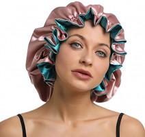 Women Large Satin Bonnet Adjustable Silky Sleep Cap Hair Bonnet Double Layered Reversible for Curly, Natural Hair (XL-ADULT, XL Pink-Green) : Beauty