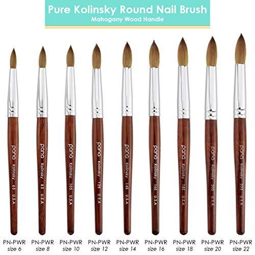 Pana USA Acrylic Nail Brush100% Pure Kolinsky Hair Mahogany Wood Handle with Silver Ferrule Round Shaped Style (Size # 10, Mahogany) : Beauty