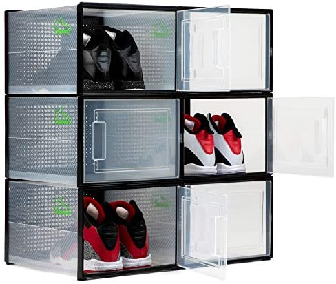 Shoepreem Stackable Shoe Storage Box, Set of 6 - Collapsible Containers for Organizing Sneakers - Clear Container Organizers for Shoes - Space Saving Accessories for Footwear (Black, Large): Home Improvement