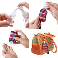 Hand Sanitizer Holder Keychain Set: SILINICE Empty Travel Size Bottle and Keychain Holder with Lanyard Wristlet, 30ML Refillable Containers for Soap/Lotion/Liquid - 2 Flip Cap and 2 Spray (Colorful) : Beauty