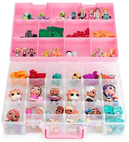 Bins & Things Toy Storage Organizer and Display Case Compatible with LOL Dolls, Shopkins, Calico Critters and LPS Figures - Portable Adjustable Box w/Carrying Handle: Toys & Games