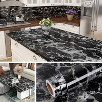 Livelynine Peel and Stick Countertop Contact Paper Waterproof Kitchen Countertop Paper Black Marble Wallpaper for Furniture Desk Table Cabinet Covers Removable Backsplash 15.8x78.8 Inch