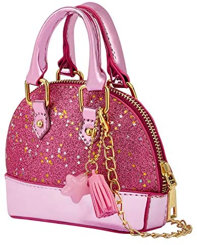 HDE Little Girls Toddler Tote Glitter Purse Mini Crossbody Fashion Toy for Kids: Clothing