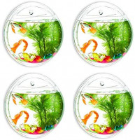 Glasseam Wall Hanging Fish Bowl Mirror Round 6-inches 4Pcs Acrylic Fish Plant Tanks and Aquariums Vase Pot with Gift for Garden, Home, Outdoor : Pet Supplies