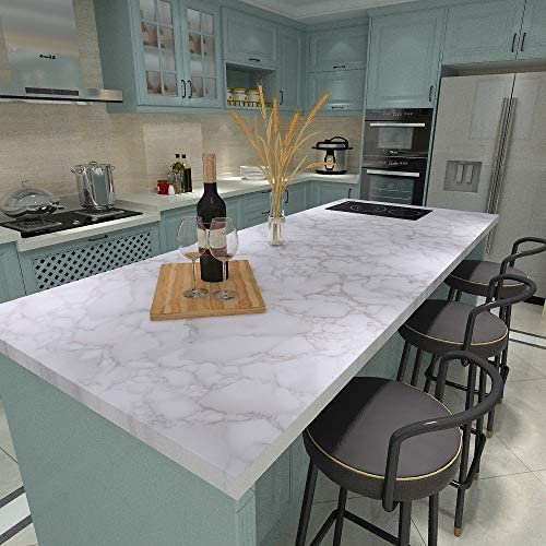 "Art3d 120""x15.8"" Self-Adhesive Wallpaper, Peel and Stick Grey Marble Paper, Matt: Home & Kitchen"