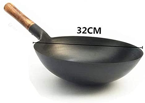 Carbon Steel Wok, wok pan Handmade Woks and Stir Fry Pans with Wooden Handle Round bottom Non Stick Cookware Pot 13 Inch Durable: Kitchen & Dining
