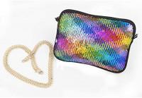 Crossbody for Women Neoprene Clutch Purses Cross Body Purse Colored Sequin Bag Detachable Chain Crossbody Wallets - FUNLAVIE: Handbags