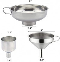 3 Pieces Funnel Durable Stainless Steel Kitchen Funnels with Strainer-Ideal for Transferring of Spices Liquid Powder Bean jam Canning Dishwasher Safe Funnels Set: Kitchen & Dining