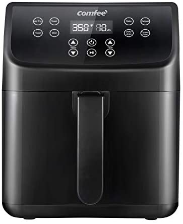 COMFEE' 5.8Qt Digital Air Fryer, Toaster Oven & Oilless Cooker, 1700W with 8 Preset Functions, LED Touchscreen, Shake Reminder, Non-stick Detachable Basket, BPA & PFOA Free (110 Recipes): Kitchen & Dining
