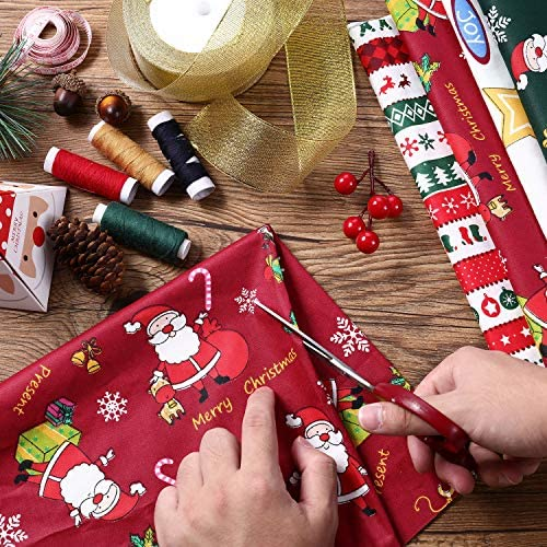 8 Pieces Christmas Theme Cotton Fabric Multi-Color Fabric Patchwork Christmas Tree Fat Quarters Christmas Quilting Fabric Bundles for DIY Crafts Making Home Party Decoration (25 x 25 cm/ 9.8 x 9.8 Inch)