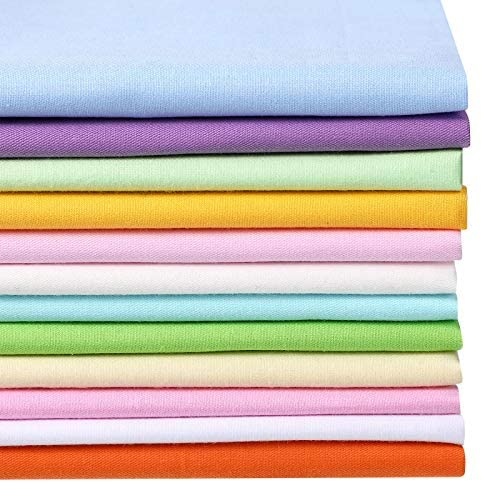 12 Pieces Solid Fat Quarters Quilting Fabric Bundles 20 x 16 Inch/ 50 x 40 cm Cotton Fabric Craft Quilting Patchwork for DIY Scrapbooking Art Craft Supplies (Multicolor)