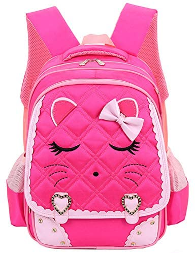 Efree Cute Cat Face Bow Diamond Bling Waterproof Pink School Backpack Girls Book Bag (Large, Black) | Kids' Backpacks