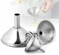 AIEVE Set of 3 Stainless Steel Funnel Kitchen Funnel Small Funnel Funnels for Filling Bottles to Transfer Liquid and Dry Ingredients, Essential Oil, Spices, Powder, Flask, Hot Sauce Bottles, Silver: Kitchen & Dining