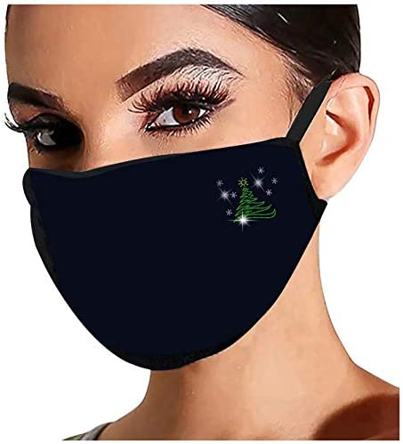 【USA In Stock 】5PCS Adults Christmas Element Rhinestone Pattern Cotton Face_MASK Face Covering Face Protection for Women and Men, Fashion Outdoor Washable Reusable Quick-drying Anti-Haze Face Fabric: Clothing
