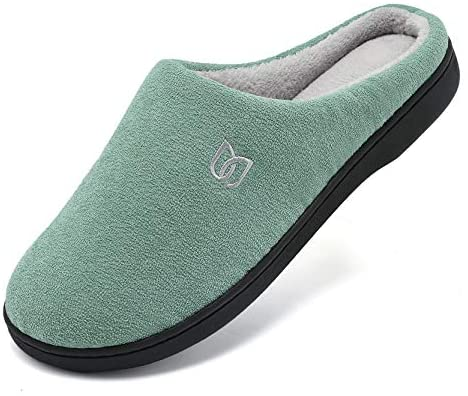 Women's Men's Memory Foam Slip On Slippers Comfy Plush Lined House Shoes for Indoor & Outdoor Anti-Skid Rubber Sole | Slippers