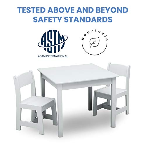 Delta Children MySize Kids Wood Table and Chair Set (2 Chairs Included) - Ideal for Arts & Crafts, Snack Time, Homeschooling, Homework & More, Bianca White: Baby