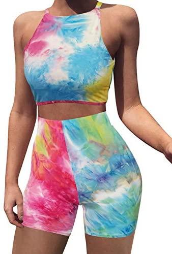 BEAGIMEG Women's Sexy 2 Pieces Outfit Halter Crop Top Bodycon Shorts Set at Women's Clothing store