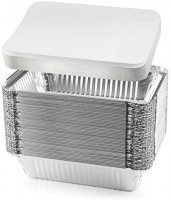 """NYHI 50-Pack Heavy Duty Disposable Aluminum Oblong Foil Pans with Lid Covers Recyclable Tin Food Storage Tray Extra-Sturdy Containers for Cooking, Baking, Meal Prep, Takeout - 8.4"""" x 5.9"""" - 2.25lb: Kitchen & Dining"""
