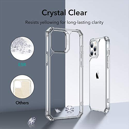 ESR Air Armor Compatible with iPhone 12 Pro Max Case [Shock-Absorbing] [Scratch-Resistant] Hard Polycarbonate + Flexible Polymer Frame, for 6.7-Inch - Clear: Electronics