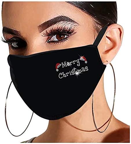 Christmas Face_Masks for Adults, Reusable Washable Flash Diamond Rhinestone Breathable Fashion Cotton Face Balaclavas at Men's Clothing store