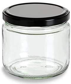 Nakpunar 12 oz Wide Mouth Glass Jars with Black Lids -Set of 12 - Salsa style: Home Improvement