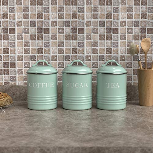 """Barnyard Designs Airtight Kitchen Canister Decorations with Lids, Mint Metal Rustic Farmhouse Country Decor Containers for Sugar Coffee Tea Storage (Set of 3) (4"""" x 6.75""""): Home Improvement"""