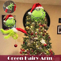 MiaoKa Green Arm & Head Ornament, Furry Plush Doll Christmas Tree Holder Decoration for The Christmas Home Party( Approx 23 to 26 inches): Kitchen & Dining