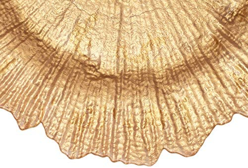Simply Elegant 13-inch Glass Reef Charger Plates (4-Set) Full Color with Flower shaped Edge (Gold): Charger & Service Plates