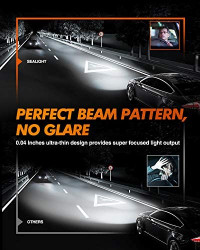 SEALIGHT 9008/H13 LED Headlight Bulbs, 10000lm Ultra-thin Design 60W Hi/Lo Beam LED Headlights Conversion Kit 6500K White with Fan 2 Pcs: Automotive