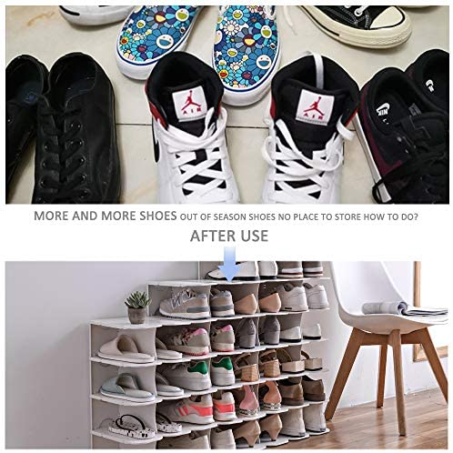 ACPOP Shoe Slots Organizer, Adjustable Shoe Rack,Better Stability Shoe Organizer,Shoe Stacker,Space Saver,Pack of 6,Grey: Home & Kitchen