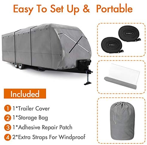Leader Accessories Windproof Upgraded Travel Trailer RV Cover Fits 18'-20' Camper 300D Top Premium Fabric: Automotive