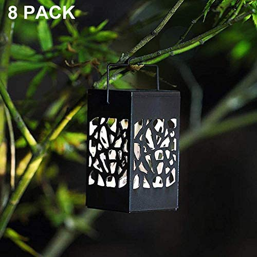 Twinkle Star 8 Pack Outdoor Solar Lanterns Hanging Solar Lights with Handle, Christmas Garden Tree Yard Patio Holiday Decorations: Home Improvement