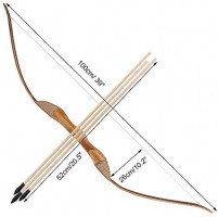 TOPARCHERY Wooden Bow and Arrow Set for Kids Beginners with 3 Arrows 1 Quiver Costume Long Bow Archery Set Children Practice Bow Toy (100cm Long, 1 Set) : Sports & Outdoors