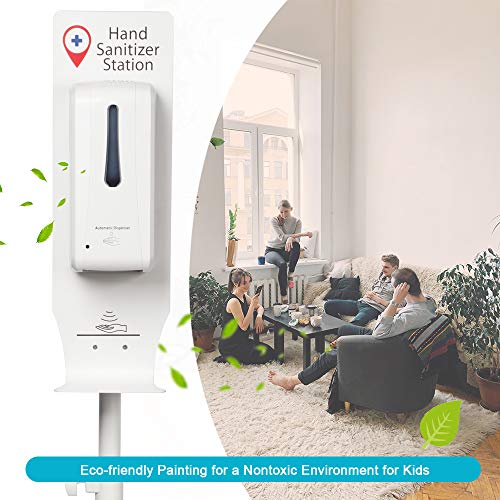 Standing Automatic Sanitizer Dispenser Movable Sanitizer Station with Height Adjustable Metal Stand and Refillable Canister Anti-theft Design : Beauty