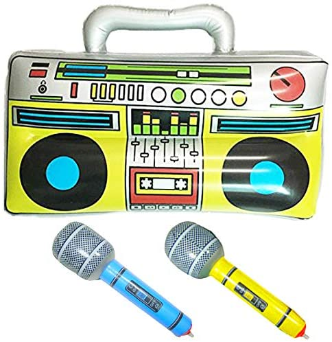 "GuassLee 16"" Party Inflatable Boom Box PVC Radio + 2 Microphones for Inflatable Props 80s Party Decorations: Toys & Games"